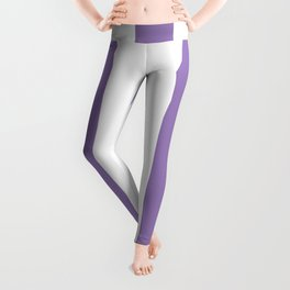 Lavender purple - solid color - white vertical lines pattern Leggings