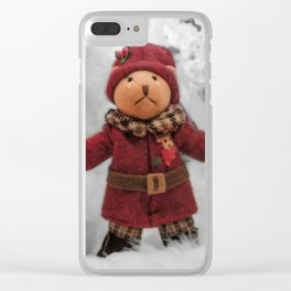 Christmas teddy Clear iPhone Case