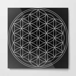 Flower of Life Black & White Metal Print
