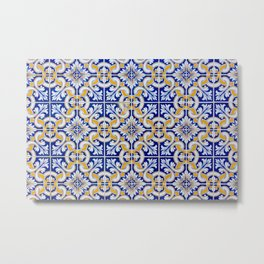 Close-up of blue, white and yellow ceramic wall tiles in Tavira, Portugal Metal Print