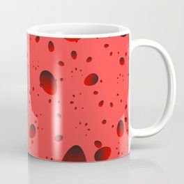 Large red drops and petals on a light background in nacre. Coffee Mug