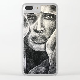 Shadowed Sincerity Clear iPhone Case