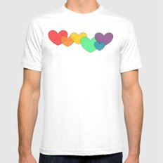 Love is a Rainbow White MEDIUM Mens Fitted Tee