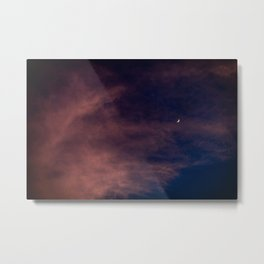 Waxing Crescent In Sunset Hour Metal Print