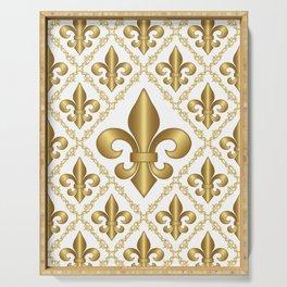 Gold Fleur-de-Lis Pattern Serving Tray