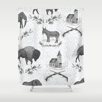 political Shower Curtains featuring Political Toile by Jessica Roux