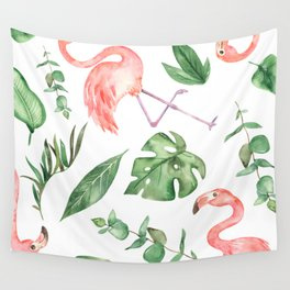 Flamingos Amongst The Leaves Watercolor Wall Tapestry