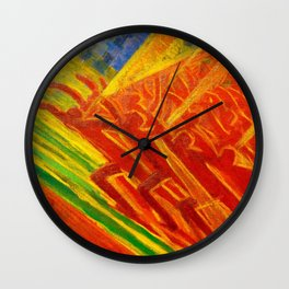 African American Masterpiece, La Révolt, abstract landscape painting by Luigi Russolo Wall Clock