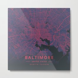 Baltimore, United States - Neon Metal Print