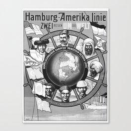 retro monochrome Zwei Reisen um die Welt Canvas Print