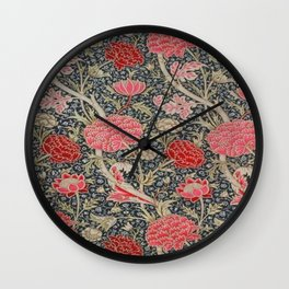 William Morris Floral Red and Pink Art Nouveau Textile Patter Wall Clock