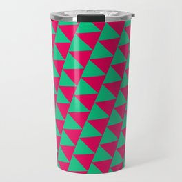 Green and pink triangle graphic Travel Mug