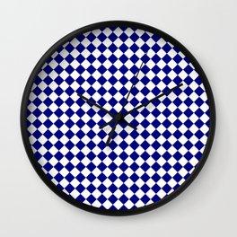 White and Navy Blue Diamonds Wall Clock