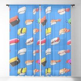 Sushi pattern | blue sky Sheer Curtain