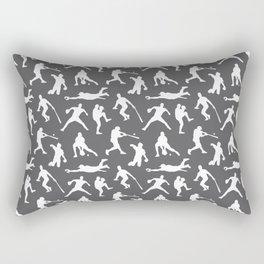 Baseball Players // Charcoal Rectangular Pillow