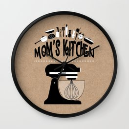 "Kraft Paper Style ""Mom's Kitchen"" Baking Print Wall Clock"