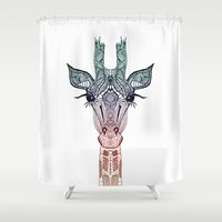 animals Shower Curtains featuring GiRAFFE by Monika Strigel