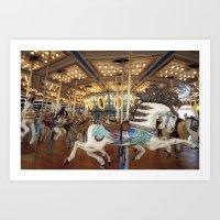 Carousel in Seaside Art Print