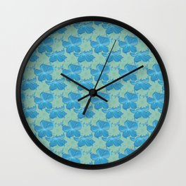 Scuba Blue and Lucite Green Watercolor Floral Wall Clock