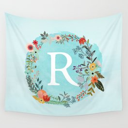 Personalized Monogram Initial Letter R Blue Watercolor Flower Wreath Artwork Wall Tapestry