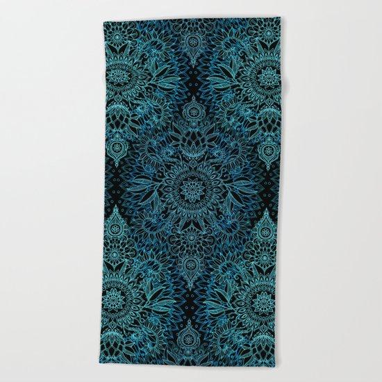 Black & Aqua Protea Doodle Pattern Beach Towel