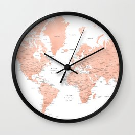 "Rose gold world map with cities, ""Hadi"" Wall Clock"