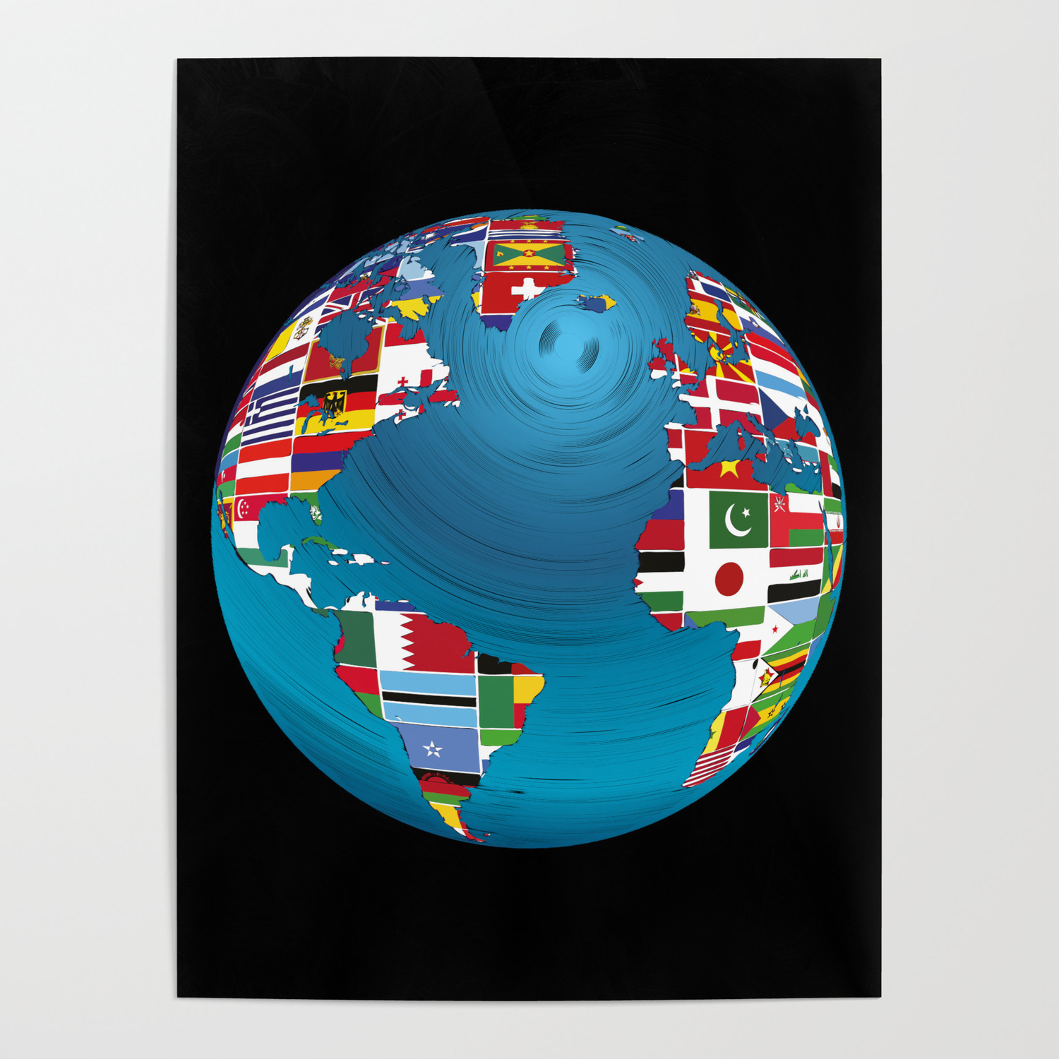World Map Globe Atlas National Flags Earth Day Poster by anziehend |  Society6