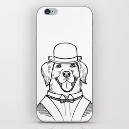 Portrait of a Labrador retriever with a bowler hat iPhone Skin