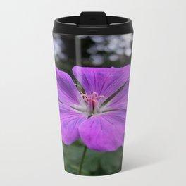 Violet Viola Flower With Garden Background  Travel Mug