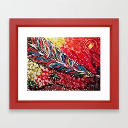 Feather falling from the sky Framed Art Print