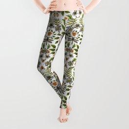 Spring Reflection - Floral/Botanical Pattern w/ Birds, Moths, Dragonflies & Flowers Leggings