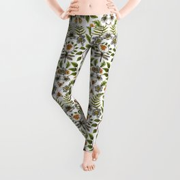 Spring Reflection - Floral/Botanical Pattern w/ Birds, Moths, Dragonflies & Flowers Leggings