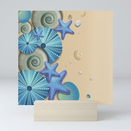SEA SHELLS ON THE BEACH Mini Art Print