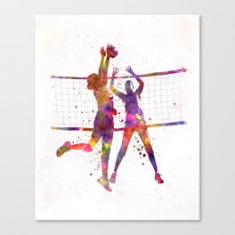 Women volleyball players in watercolor Canvas Print