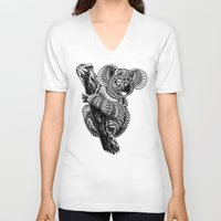 ornate V-neck T-shirts featuring Ornate Koala by BIOWORKZ
