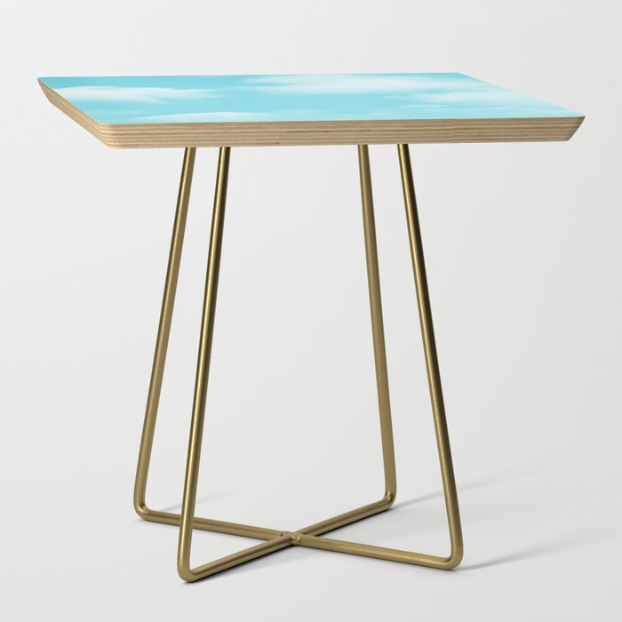 Aqua Blue Clouds Side Table