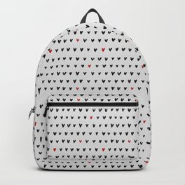 More Amor Black & Red, Heart Pattern Backpack