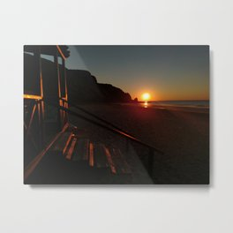 Shack by the sea at sunrise Metal Print