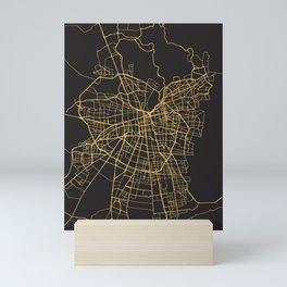 SANTIAGO DE CHILE GOLD ON BLACK CITY MAP Mini Art Print