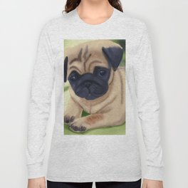 Cute pug on green sofa Long Sleeve T-shirt
