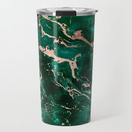 Modern rose gold marble green emerald watercolor pattern Travel Mug