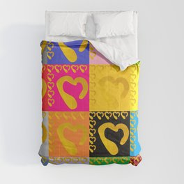 Gold Hearts on colorful Stamp Comforters