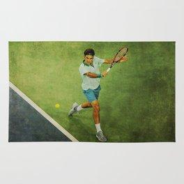 Roger Federer Tennis Backhand Rug