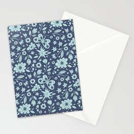 Blue Butterflies, Starfish and Flowers Stationery Cards