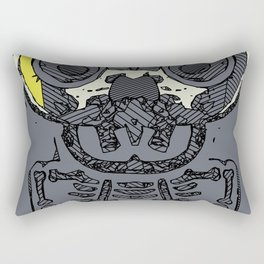 yellow skull and bone graffiti drawing with grey background Rectangular Pillow