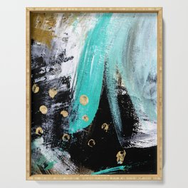 Fairy Dreams: an abstract mixed media piece in black, white, teal, and gold Serving Tray