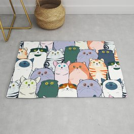 Group of Colorful Breed of Cats Cute Clowder Design Rug