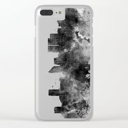 The Hague skyline in watercolor background Clear iPhone Case