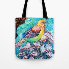 birds and mushrooms Tote Bag