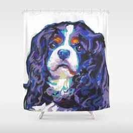 Tri-color Cavalier King Charles Spaniel Dog bright colorful Pop Art by LEA Shower Curtain